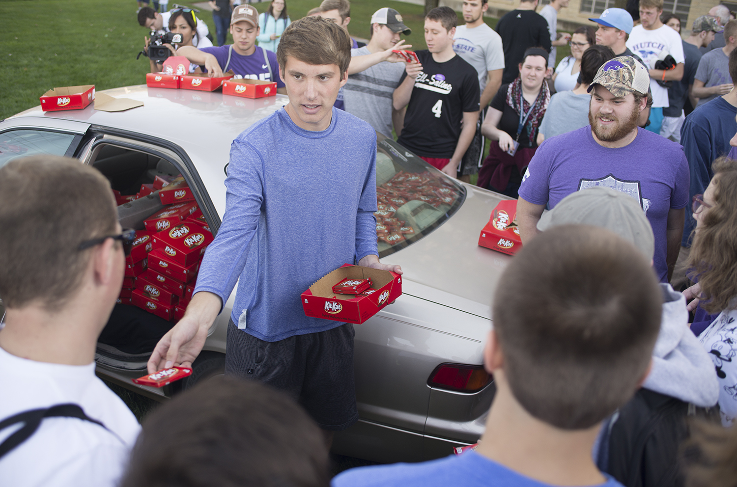 Student's vehicle filled with thousands of Kit Kats