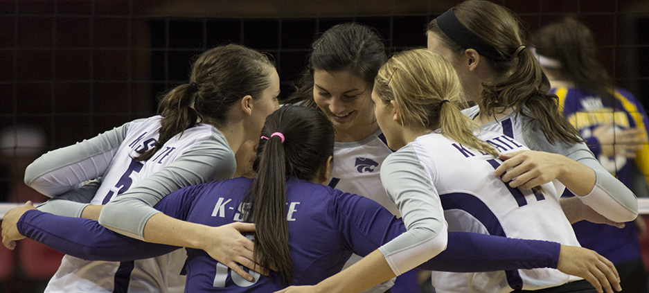 Jacob Dean Wilson | Collegian Members of the K-State volleyball team celebrate after scoring a point in the third and final set against the Northern Iowa Panthers on Thursday. The Wildcats came from behind and narrowly missed extending the match into a fourth set during the first round of the NCAA Women's Volleyball Championship in Lincoln, Neb. The team lost the set 21-25.