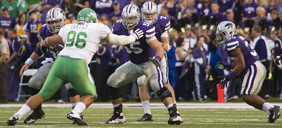 Emily DeShazer | Collegian The Wildcats offensive line will be a key factor in the Wildcats offensive success and will be anchored by junior center BJ Finney.