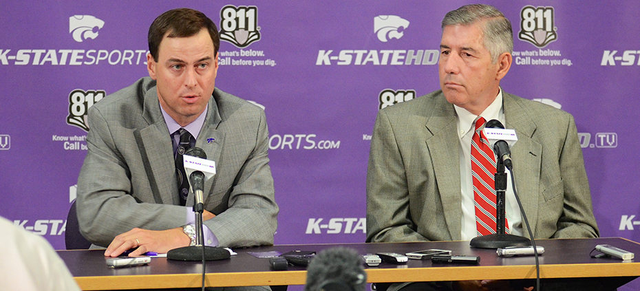 K-State Athletic Director John Curie (left) and Big12 Commissioner Bob Bowlsby discuss Big12 revenues during K-State football's media day Aug. 5. Curie has taken K-State's athletics department, which was operating under a budget deficit, and in his four years has not only changed that deficit to a budget surplus, but also turned the department into the most profitable athletic department in the country according to ESPN.