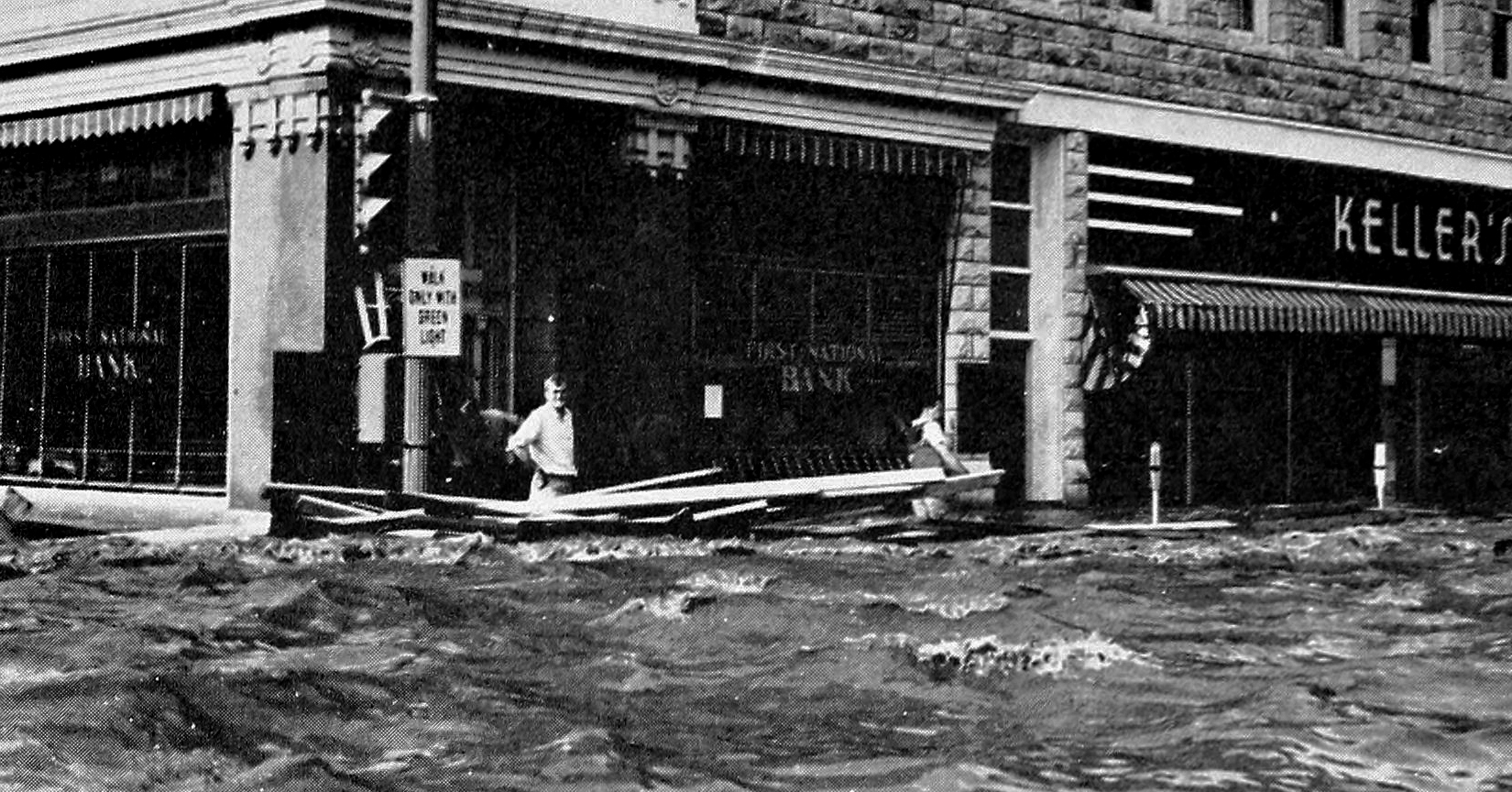 Waters rose between four and eight feet throughout much of the business  district of Manhattan during the summer 1951 flood. (File Photo | 1952  Royal Purple)