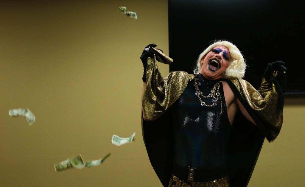 Drag entertainer, August Celestial, performs at K-State's Amateur Drag Show on February 28, 2020.