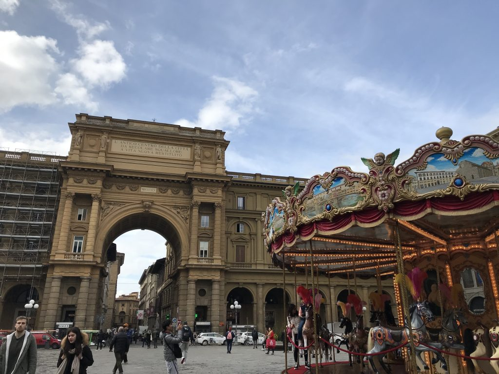 The Piazza del Republica in Florence, Italy. The carousel has been closed for the recent lock-down.