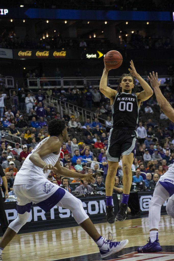 In what was supposed to be the first round of the Big 12 Conference Tournament, K-State took on TCU. Hours later, all games in the tournament were cancelled because of the COVID-19 pandemic. The Wildcats beat the Horned Frogs 53-49 on March 11, 2020. (Dalton Wainscott | Collegian Media Group)