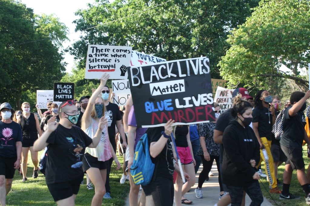 At the June 3, 2020 police brutality protest and march in City Park, several hundred people advocate for justice and the Black Lives Matter movement. (Dene Dryden | Collegian Media Group)