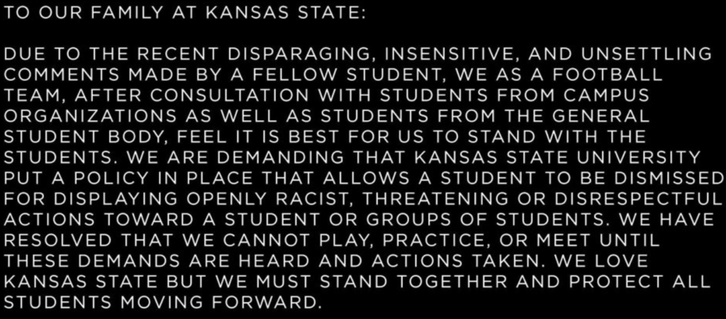 The statement that has been posted by multiple K-State football players on Twitter.