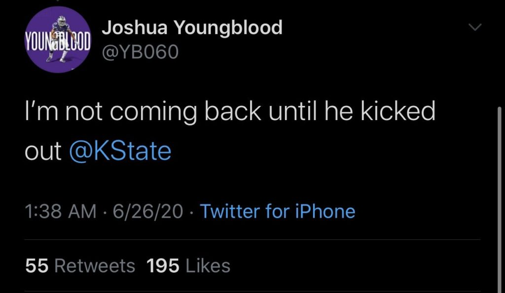 Kansas State sophomore wide receiver Joshua Youngblood responds to a tweet by Jaden McNeil, junior in political science. This tweet has since been deleted from Twitter.