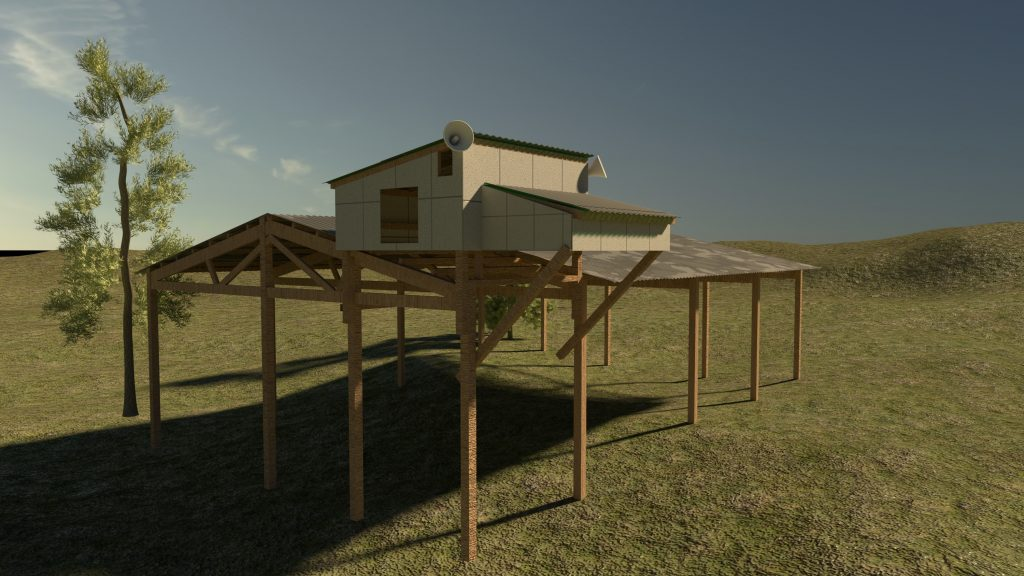 A design image created by Treher to imitate what the Barn swallow habitat structure will look like when complete