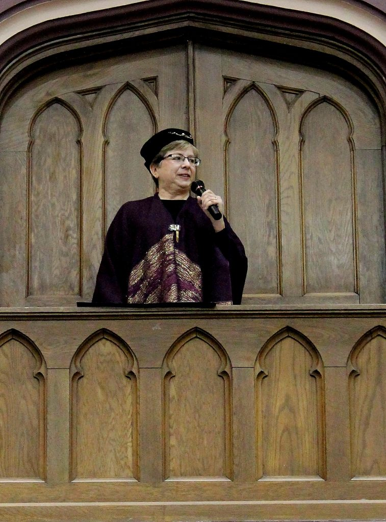 Dean of K-State Libraries, Lori Goetsch, addressed a crowd from the Great Room balcony at the Back to School Harry Potter Feast in 2014.