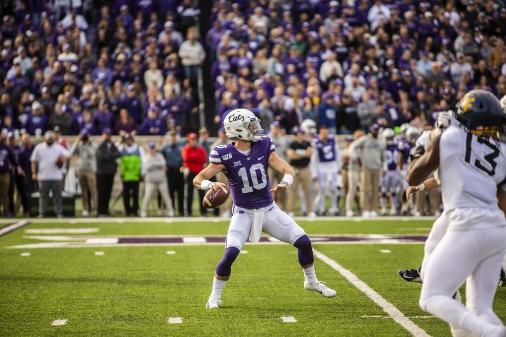 Junior quarterback Skylar Thompson throws a pass during K-State's football game against West Virginia at Bill Snyder Family Stadium on Nov. 16, 2019. The Wildcats lost to the Mountaineers with a final score of 24-20. (Logan Wassall | Collegian Media Group)