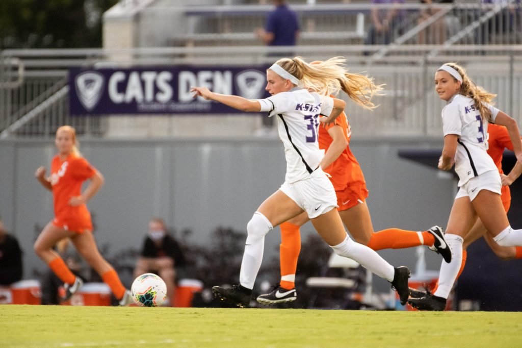 Kansas State University midfielder, Maddie Souder, attacks up the field in the Wildcats 3-0 loss to Oklahoma State at Buser Family Park on September 13, 2020. (Dylan Connell | Collegian Media Group)