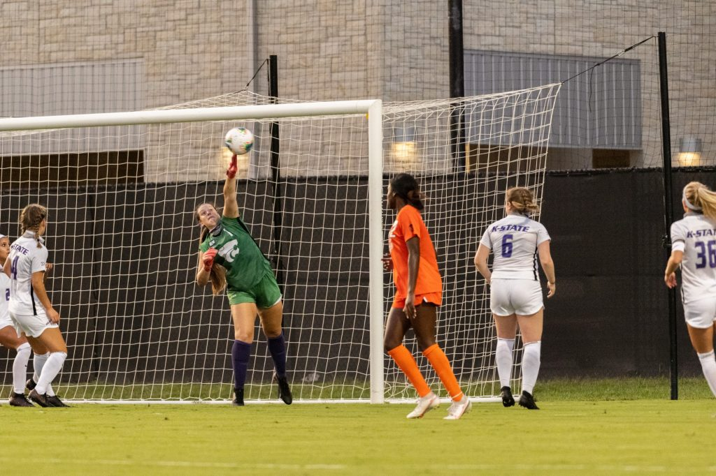 Kansas State University goalkeeper, Alaina Werremeyer, saves a goal attempt from Oklahoma State. The Wildcats fell to Oklahoma State 0-3 at Buser Family Park on September 13, 2020. (Dylan Connell   Collegian Media Group)