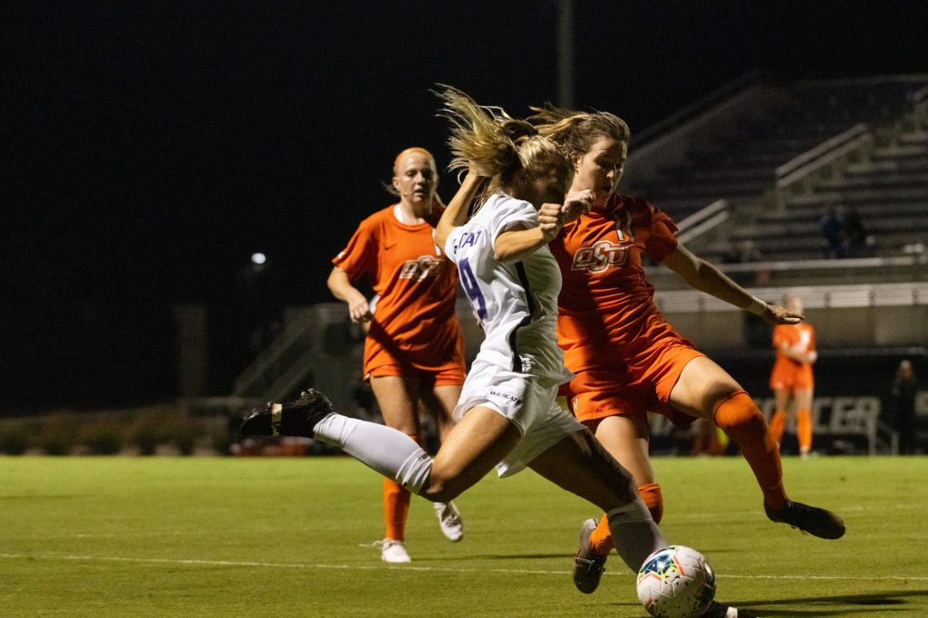 Kansas State University midfielder, Christina Baxter, charges up the field with an attempt to make a late charge in the Wildcats 3-0 loss to Oklahoma State at Buser Family Park on September 13, 2020. (Dylan Connell | Collegian Media Group)