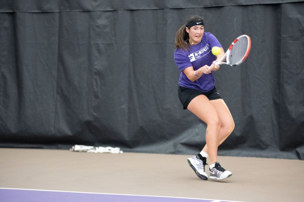 K-State's, Maria Linares, competes against Washington at Body First Tennis Center in Manhattan, KS. The Cats fell 4-1 on 02/14/20. (Dylan Connell | Collegian Media Group)
