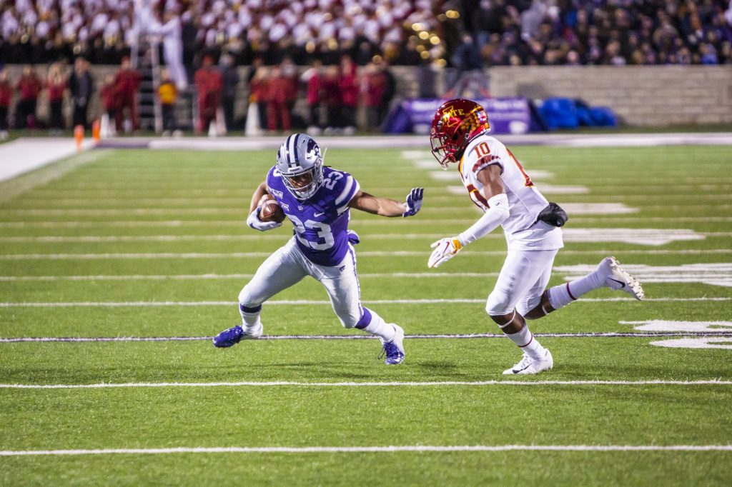 Sophomore wide receiver Joshua Youngblood tries to break free against Iowa State last year. Youngblood has recently entered his name into the transfer portal. (Logan Wassall | Collegian Media Group)