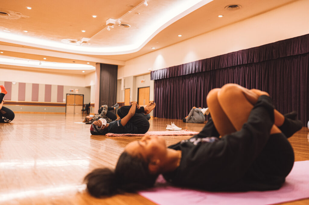 Monday included a meditation session instructed my Melina Alferoff. Located in the Union Ballroom on Oct 26, 2020. (Dylan Connell | Collegian Media Group)