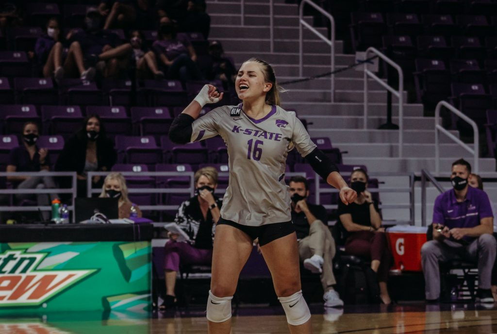 Dru Kuck celebrates during K-State's volleyball game against Iowa State at Bramlage Coliseum on Sept. 26, 2020. (Sophie Osborn | Collegian Media Group)