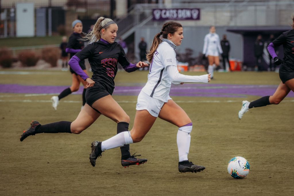 K-State takes the ball down the pitch during an offensive attack against TCU on Sunday afternoon. (Sophie Osborn | Collegian Media Group)
