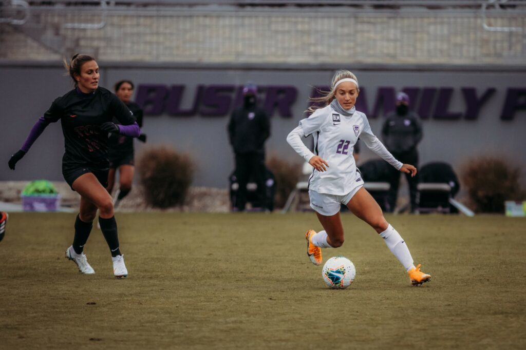 K-State freshman forward Maddie Weichel moves past an opponent during the Wildcats 3-2 loss to TCU earlier this season. (Sophie Osborn | Collegian Media Group)