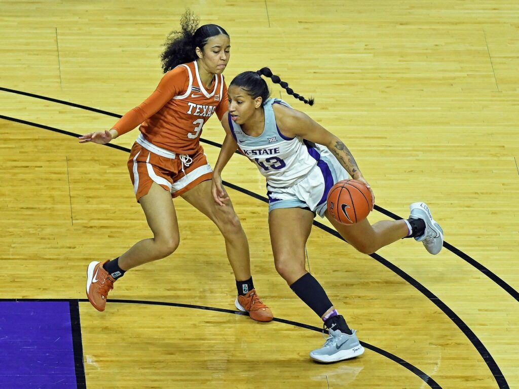 K-State junior guard Christianna Carr dribbles into the lane during the Wildcat's 62-52 loss to Texas last Monday. (Photo Courtesy of Scott Weaver).
