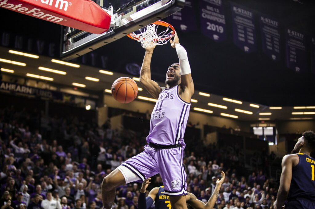 Sophomore forward Antonio Gordon charges the basket for a dunk during K-State's 84-68 victory over West Virginia on Jan. 18, 2020. (Logan Wassall | Collegian Media Group)