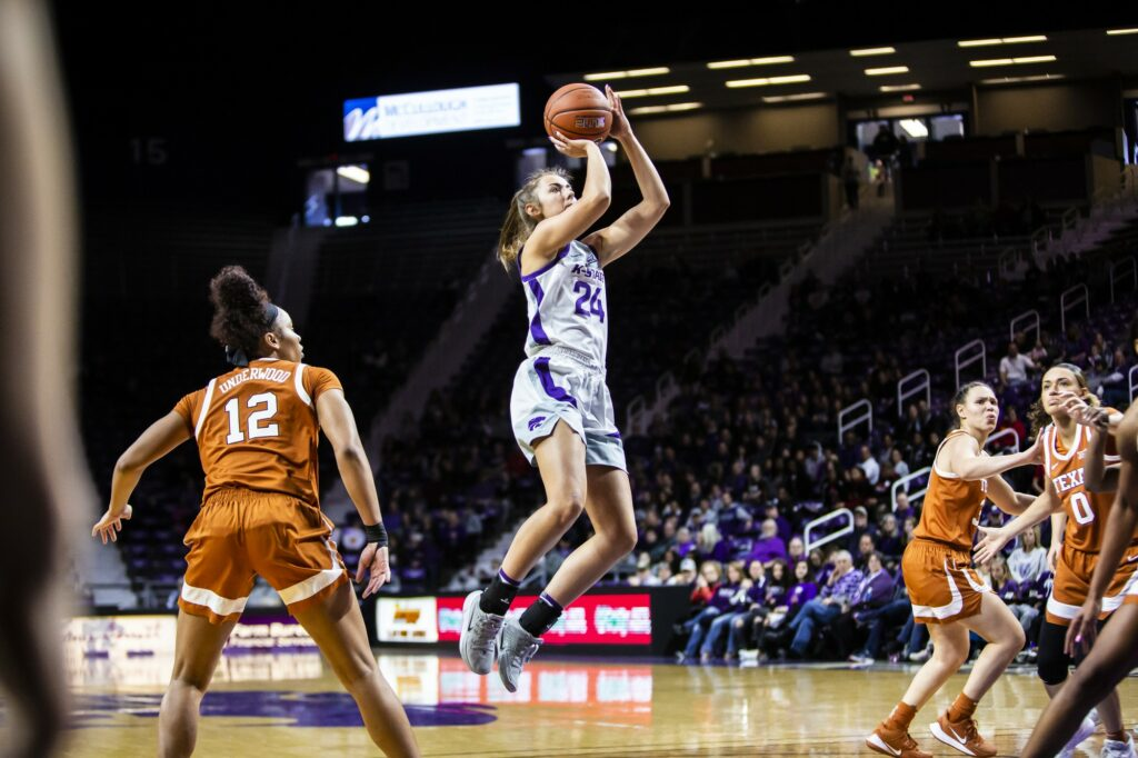 Sophomore guard Emilee Ebert leaps up for a shot during K-State's 71-63 loss to Texas on Jan. 19, 2020. (Logan Wassall | Collegian Media Group)