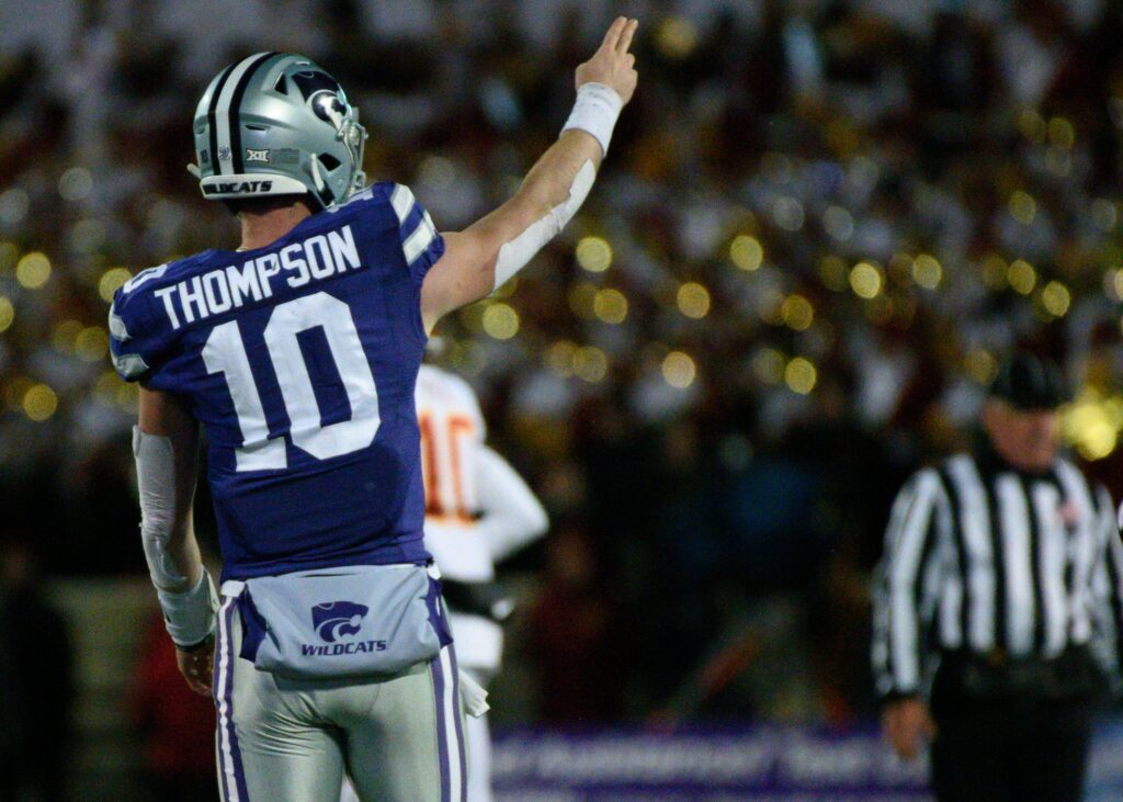 K-State Quarterback, Skylar Thompson signals for the first down that clinched the victory for the Wildcats over Iowa State on Nov. 30, 2019.  (Dylan Connell   Collegian Media Group)