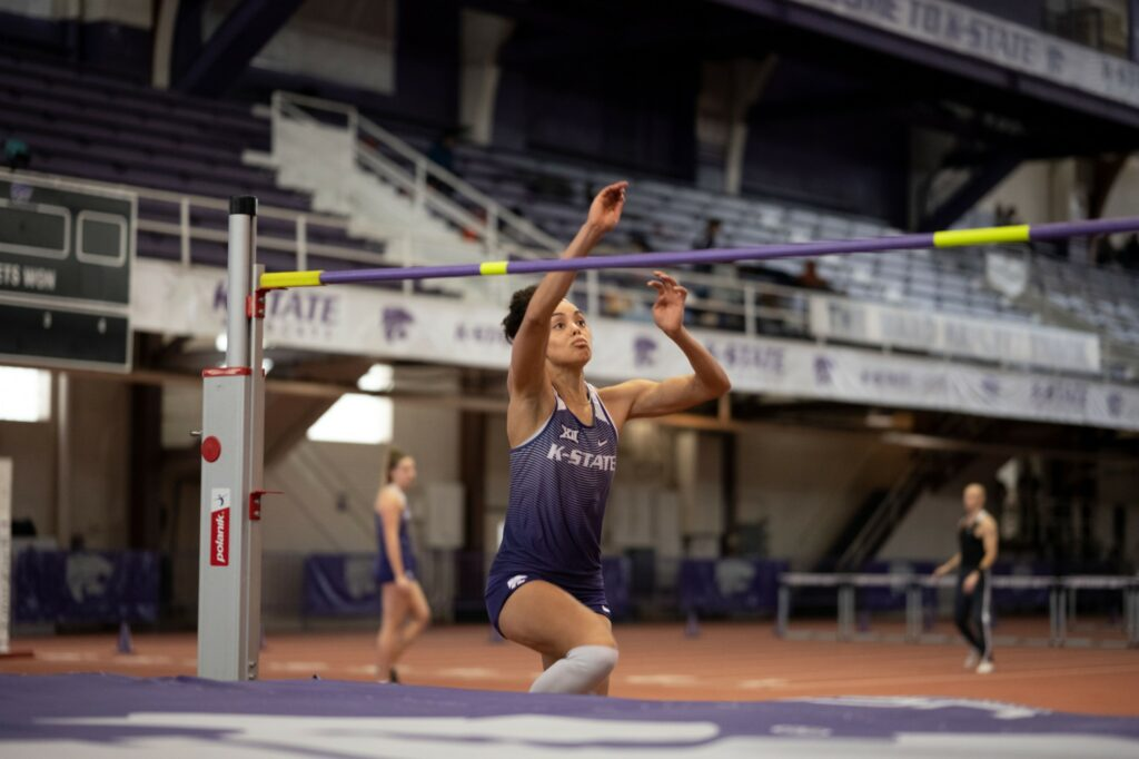 Kansas State senior high jumper, Ariel Okorie, jumps at the Track and Field Steve Miller Open inside Ahearn Field House last year.