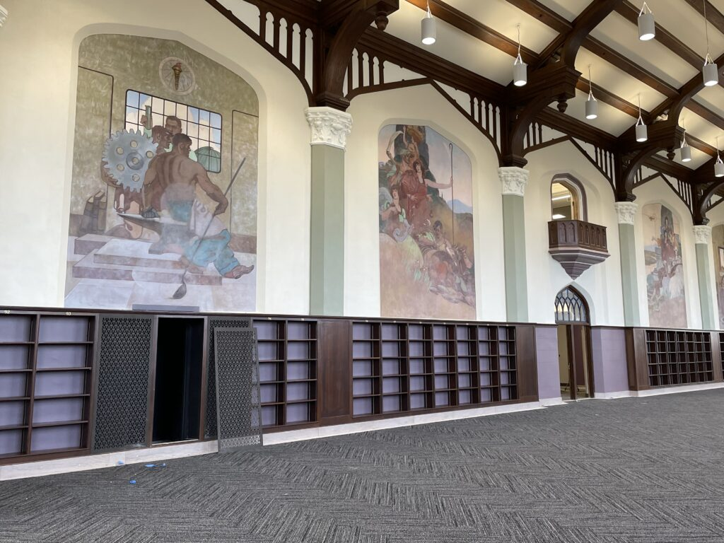 The four murals in Hale's Great Room represent the four original areas of focus at Kansas State —industry, agriculture, the home and the arts. (Bailey Britton | Collegian Media Group)