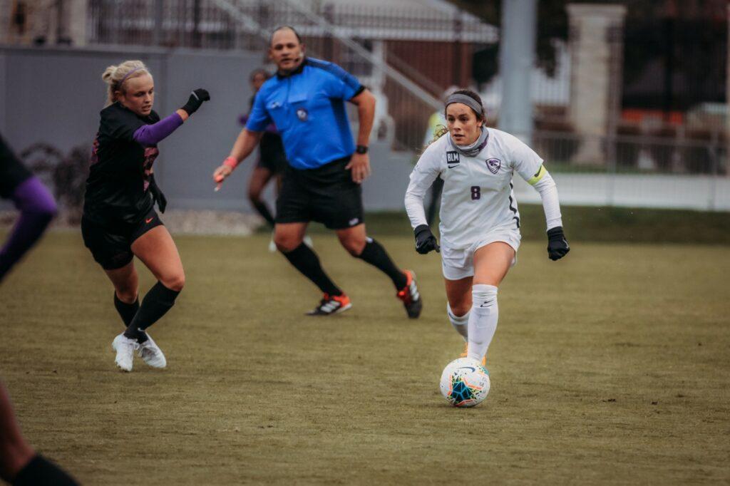 Senior midfielder Brookelynn Entz looks to teammates during the game against Texas Christian University on Oct. 25, 2020. (Sophie Osborn   Collegian Media Group)
