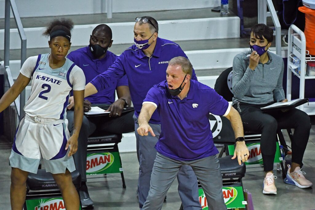K-State women's basketball head coach Jeff Mittie barks out instructions to his team in the Wildcat's 69-55 loss to Oklahoma State on Jan. 25. (Photo Courtesy of Scott Weaver)