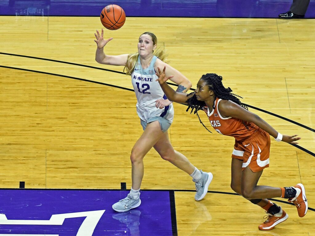 Kansas State redshirt junior Rachel Ranke attempts to corral a pass in the lane in the Wildcat's 62-52 loss to Texas on Dec. 21.