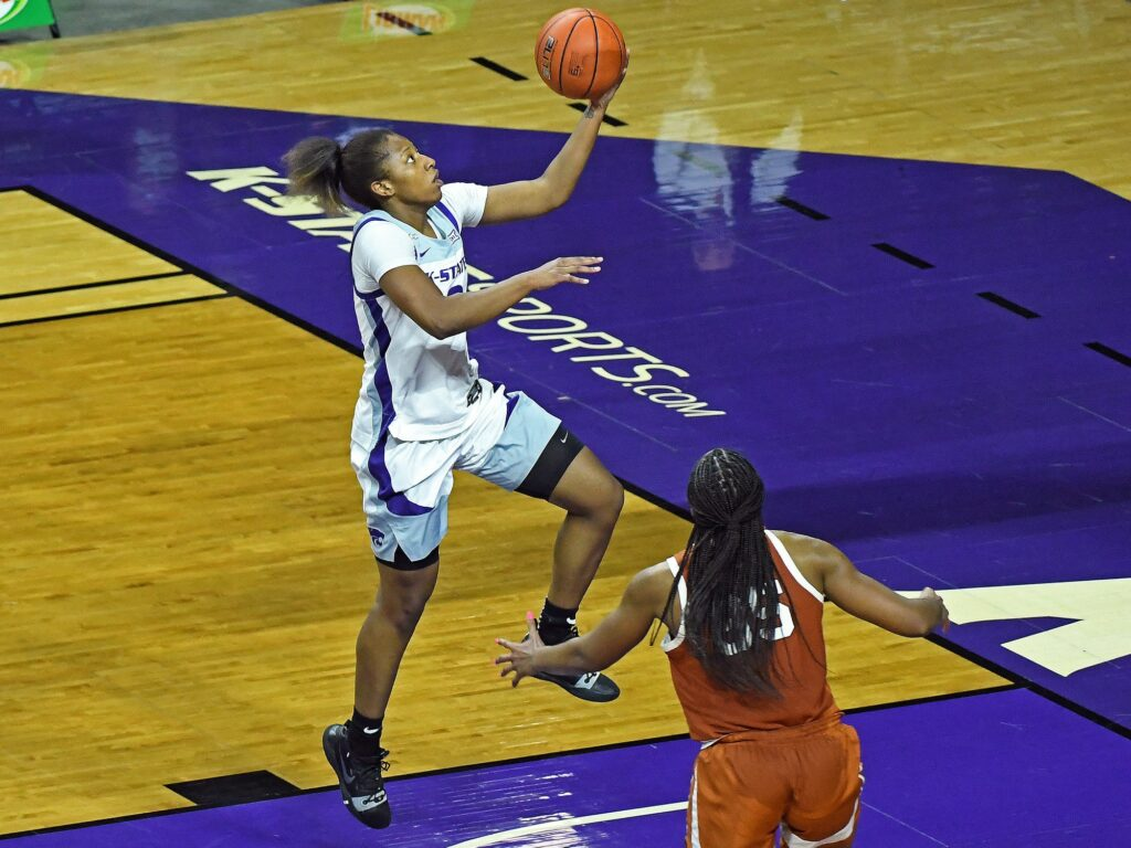 K-State junior Cymone Goodrich goes up for a layup in the Wildcat's 62-52 loss to Texas on Dec. 21. (Photo Courtesy of Scott Weaver)