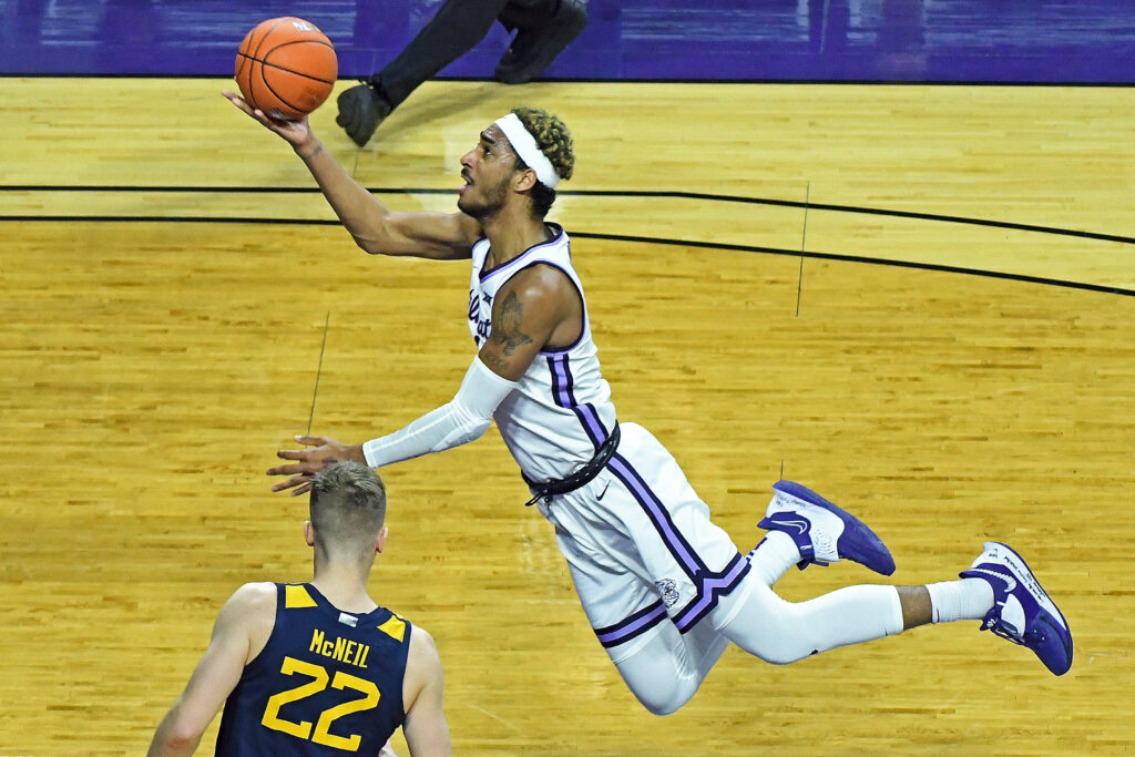K-State sophomore Antonio Gordon goes up for a tough layup in the Wildcat's 69-47 loss to West Virginia on Saturday. (Photo courtesy of Scott Weaver)