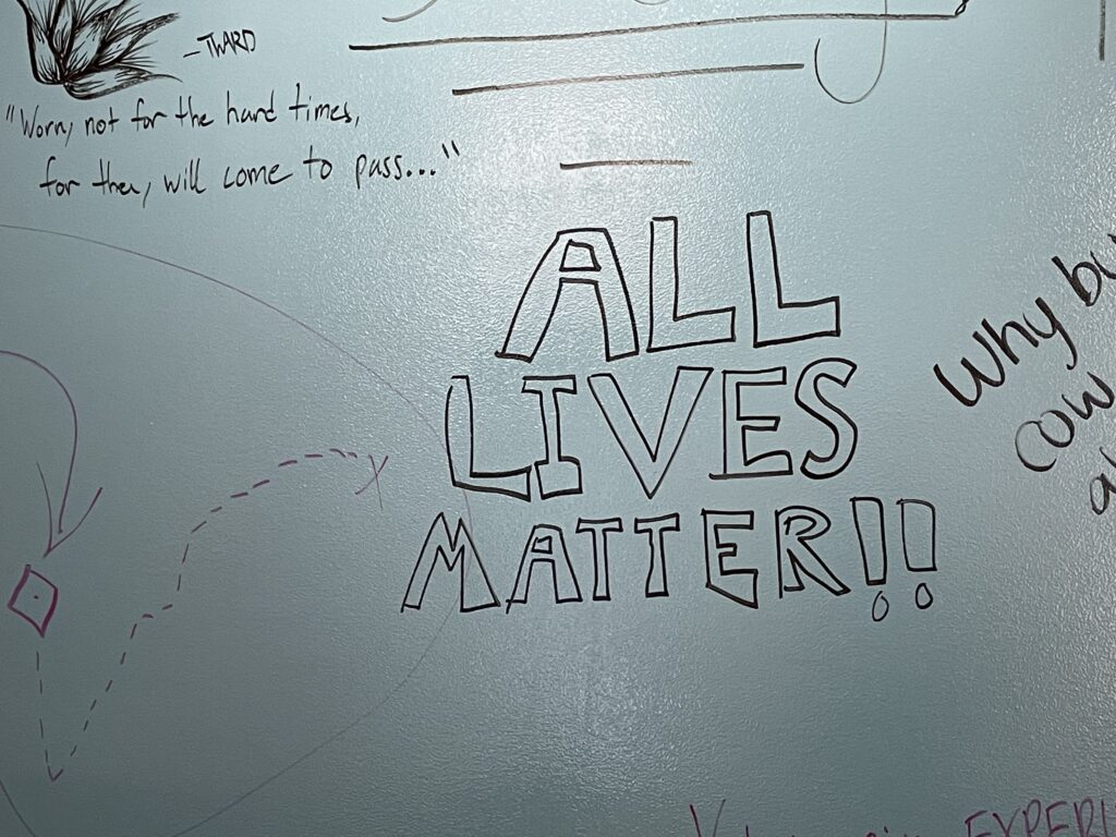 Someone wrote messages alluding to white nationalist ideals on whiteboards in the Morris Family Multicultural Student Center on Feb. 26. (Bailey Britton | Collegian Media Group)