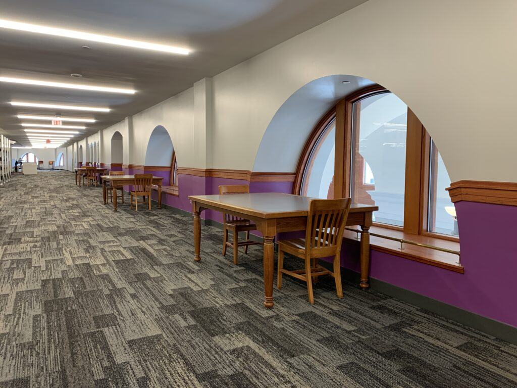 Extra workspaces and collaboration tables are available throughout the renovated library. (Sean Schaper | Collegian Media Group)