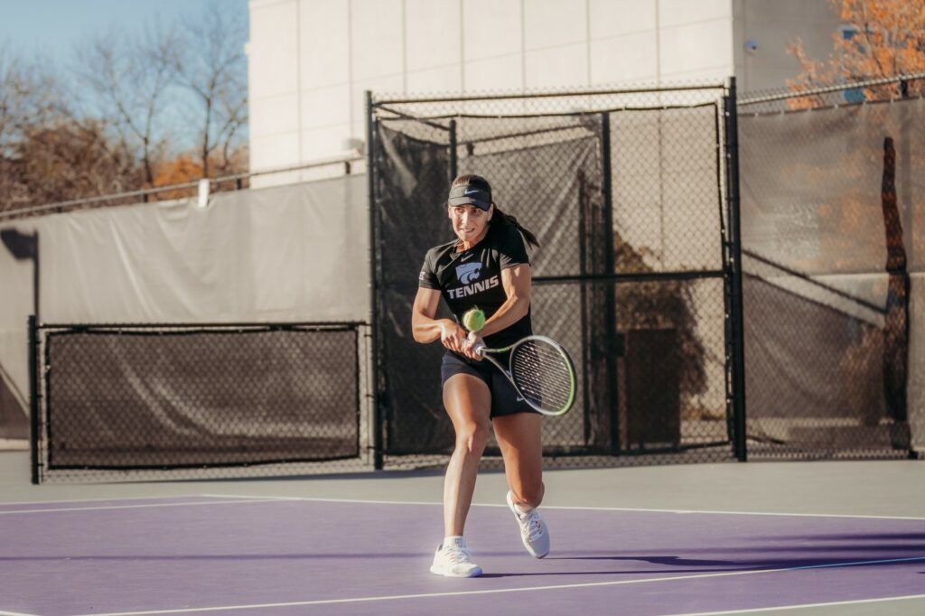 Junior Ioana Gheorghita prepares to hit in her match against Iowa State at the K-State Fall Invite on Oct. 30, 2020. (Sophie Osborn | Collegian Media Group)