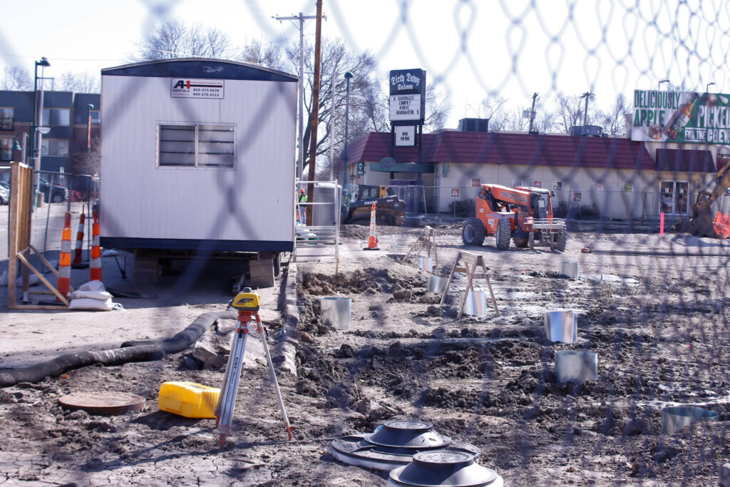 Ground broke on the new Aggieville parking garage in December 2020 and construction is ongoing. When the project wraps up in February 2022, parking will not be free. (Kaylie McLaughlin   Collegian Media Group)