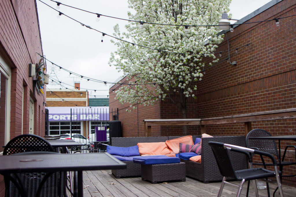 Bluestem Bistro has a wonderful outdoor dining area with tables as well as a couch with colorful coushins. As the weather gets warmer more and more people will be looking for outdoor dining areas. (Sarah Millard)