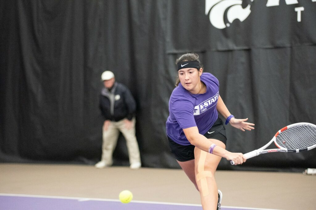 Junior Maria Linares competes against Washington at Body First Tennis Center on Feb.  14, 2020. (Dylan Connell | Collegian Media Group)