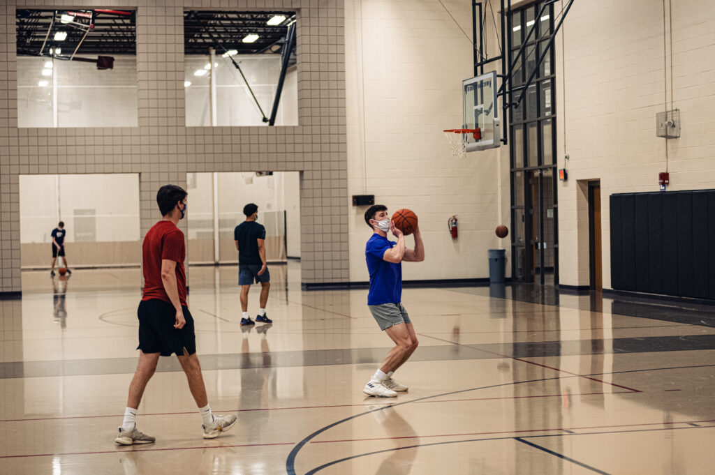 Chester E. Peters Recreation Complex has continued to open up many areas of the building in stages, including the basketball courts, climbing wall, and group fitness activities like yoga. 4/21/21. (Dylan Connell   Collegian Media Group)