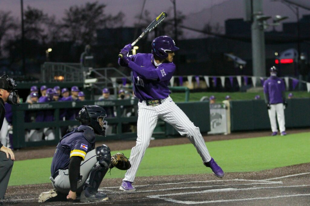 Junior Kamron Willman steps up to bat during the April 14, 2021 game against Northern Colorado at Tointon Family Stadium. (Sophie Osborn | Collegian Media Group)