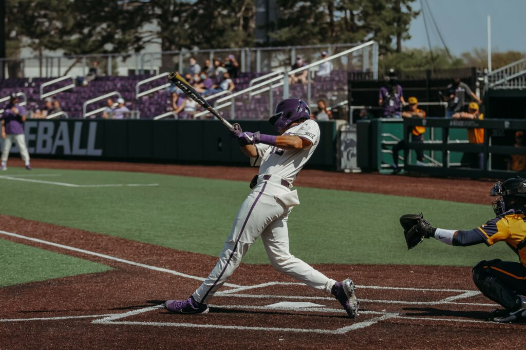 The Kansas State baseball team defeated West Virginia on Sunday afternoon 9-4 to clinch the series against the Mountaineers. (Photo by Sophie Osborn | Collegian Media Group)